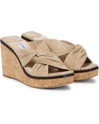 Jimmy Choo Narisa 90 Suede Wedge Sandals - Natural