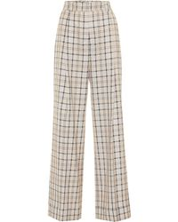 See By Chloé Checked High-rise Straight Pants - Natural