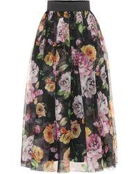 Dolce & Gabbana Floral Silk-chiffon Midi Skirt - Black