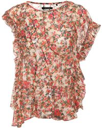 Isabel Marant Fliren Floral-printed Top - Red