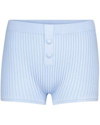 Live The Process Ribbed-knit Shorts - Blue