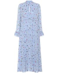 Ganni Dainty Georgette Floral Midi Dress - Blue