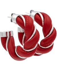 Bottega Veneta Argollas de piel y plata esterlina - Rojo