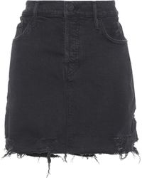 Mother - Vagabond Mini Fray Denim Skirt - Lyst