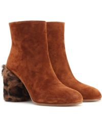 Miu Miu Suede And Fur Ankle Boots - Brown
