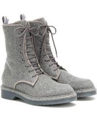 Max Mara Baker Leather-trimmed Ankle Boots - Grey