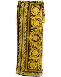 Versace Paréo Barocco imprimé en soie - Métallisé