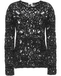 Saint Laurent Pull en laine mélangée à sequins - Noir