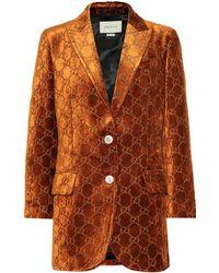 Gucci GG Velvet Blazer - Orange