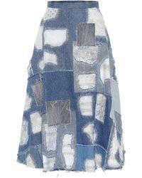 Junya Watanabe Falda de jeans en patchwork - Azul