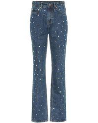 Ganni Embellished High-rise Straight Jeans - Blue