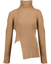 Proenza Schouler Ribbed Cotton And Silk-blend Sweater - Natural