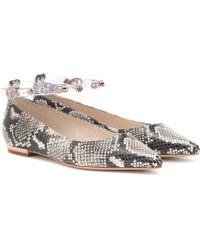 Sophia Webster Dina Crystal-strap Python-effect Leather Flats - Multicolor