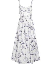 Emilia Wickstead Elita Printed Cotton Poplin Midi Dress - White