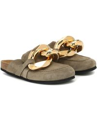 JW Anderson Chain-embellished Suede Slippers - Green