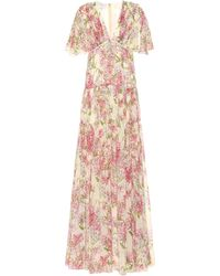 Giambattista Valli Tiered Floral Silk Maxi Dress - Pink