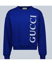 Gucci Sweatshirt aus Baumwolle mit Logo - Blau