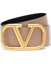 Valentino Vlogo Reversible Leather Belt - Natural