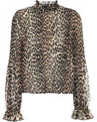 Ganni Bedruckte Bluse aus Georgette - Mehrfarbig