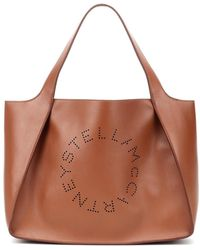 Stella McCartney Borsa tote con Logo - Marrone