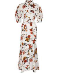 Brock Collection Vestido largo de algodón floral con cinturón - Blanco