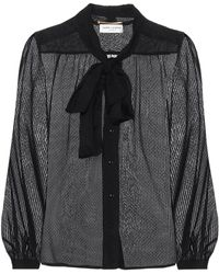Saint Laurent Silk-blend Blouse - Black