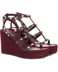 Valentino - Torchon Leather Wedge Sandals - Lyst