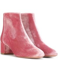 Aquazzura - Brooklyn 50 Velvet Ankle Boots - Lyst