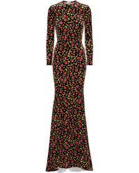 Balenciaga Floral Velvet Maxi Dress - Black