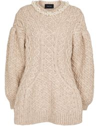 Simone Rocha Cable-knit Alpaca And Wool-blend Jumper - Natural