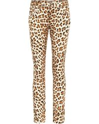 Roberto Cavalli Leopard-print High-rise Skinny Jeans - Natural