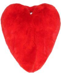 Saint Laurent Mantel Heart aus Fuchspelz - Rot