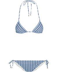 Valentino Exclusivité Mytheresa – Bikini triangle imprimé - Bleu