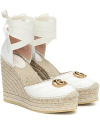 Gucci Leather Platform Espadrille - White
