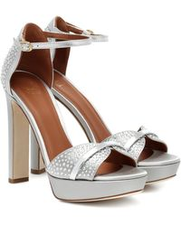 Malone Souliers Miranda 125 Satin Platform Sandals - Metallic