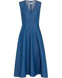 7 For All Mankind Aubrey Chambray Midi Dress - Blue