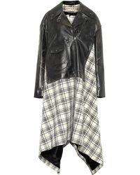 Marni Abrigo de lana y piel asimétrico - Negro