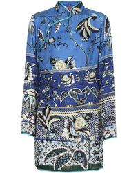 F.R.S For Restless Sleepers Menezio Floral Silk-blend Dress - Blue