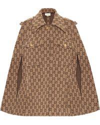 Gucci Cape aus Wolle mit GG Motiv - Natur