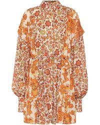 Dodo Bar Or Erin Pleated Printed Crepe Mini Dress - Orange