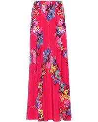 Etro - Floral Printed Silk Skirt - Lyst