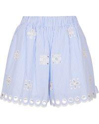 RED Valentino Shorts aus Baumwollpopeline - Blau