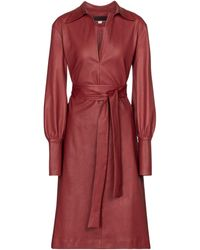 Stouls Vestido camisero Ninotchka de piel - Rojo