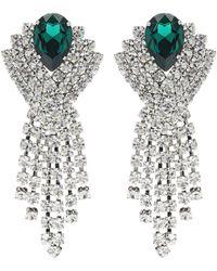 Alessandra Rich Clip-Ohrringe mit Kristallen - Weiß