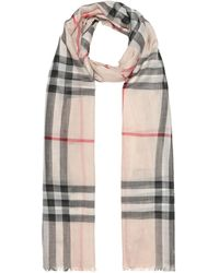 Burberry Check Wool And Silk Gauze Scarf - Multicolour