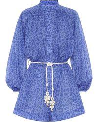 Zimmermann Exclusive To Mytheresa – Leopard-print Linen Playsuit - Blue