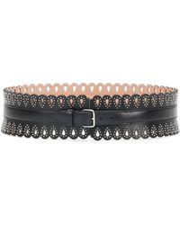 Alaïa Laser-cut Leather Belt - Black