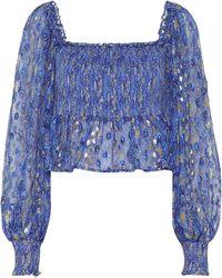 RIXO London Bluse Eloise aus Lamé - Blau