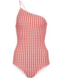 Valentino Exclusive To Mytheresa – Printed One-shoulder Swimsuit - Red