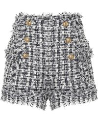 Balmain Karierte Shorts aus Tweed - Blau
